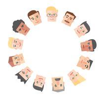 Dibujos animados de personas alrededor del vector de fondo círculo vacío