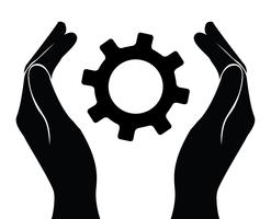 hand holding gear , engineer symbol