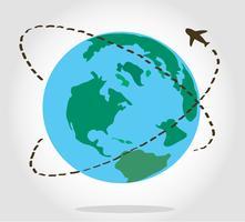 viaje en avión alrededor del vector símbolo mundial