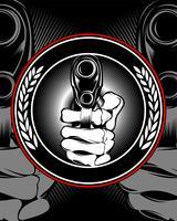 main de crâne tenant un vecteur de pistolet.