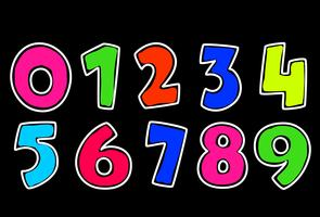 Neon style alphabets numbers for kids