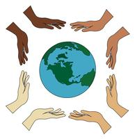 all hands holding world