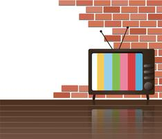 Wall of bricks and television space background art vector