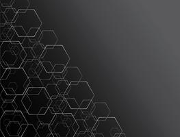 Hexagon lijnsamenvatting en ruimtekunstachtergrond