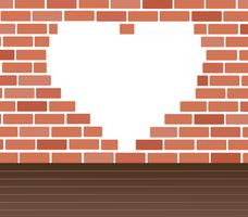Wall of bricks and heart space background art vector
