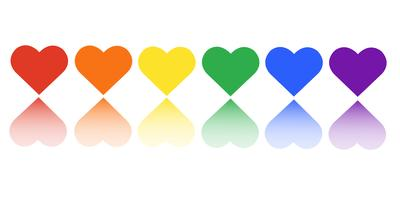 rainbow flag LGBT symbol on heart