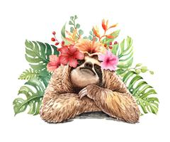 Watercolor sloth with tropical flower bouquet.