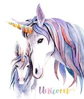 Akvarell illustration Mamma Unicorn och Baby Unicorn.