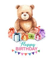Watercolor teddy with gift box. vector