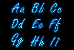 Neon alphabet font in blue part 1 vector