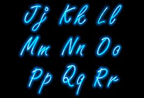 Neon alphabet font in blue part 2