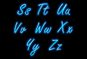 Neon alphabet font in blue part 3 vector