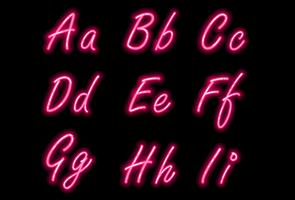 Neon alphabet font in pink color part 1 vector