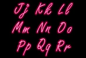 Neon alphabet font in pink color part 2
