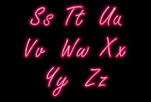 Neon alphabet font in pink color part 3