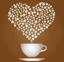 Taza de café con frijoles en vector de corazón