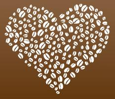 Coffee beans in heart shape vector