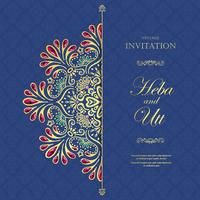 Wedding or invitation card  vintage style  with  crystals  abstract pattern background vector