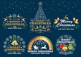 Set of Christmas badges/labels on a dark background.