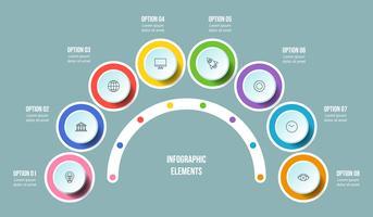 Half Circle-diagram, Tidslinje infografiska mallar
