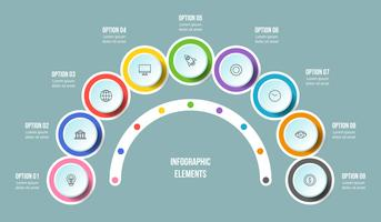 Half Circle chart, Timeline infographic templates