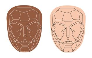 beautiful face shape , perfect face  vector