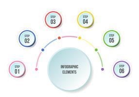 Gráfico de medio círculo, plantillas de infografía Timeline