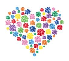 colorful flower in heart vector