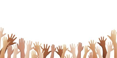 all hands up and background vector