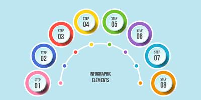 Half Circle chart, Timeline infographic templates vector