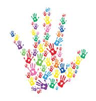 colorful hands prints