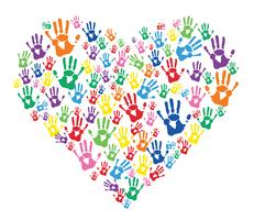 colorful hands prints in heart
