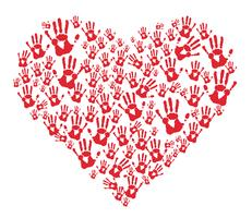 red hands prints in heart  vector