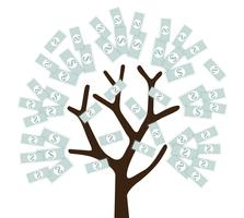 árvore de dinheiro, dinheiro crescido em vetor