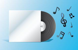 record and empty cover with note vector