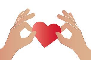 hand holding heart art vector