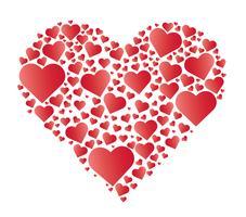 Cuori nel vettore di cuore