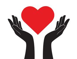 hands holding heart art vector