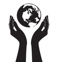 hands holding world vector