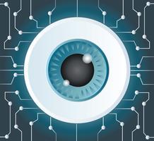 vetor de tecnologia de microchip do globo ocular