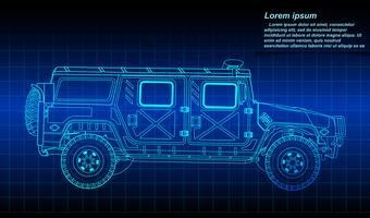 Sketching of military vehicle outline.