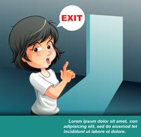 She is talking that exit door.