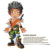 Personnage de soldat en style cartoon.