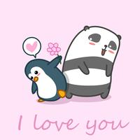 Penguin gives flower to panda.