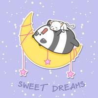 Panda and cat are sleeping on the moon.