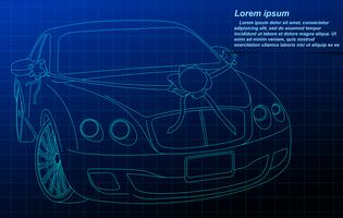 Wedding car outline. vector