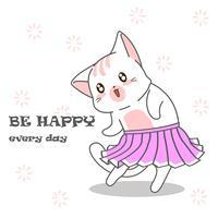 Cute cat is dancing.