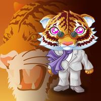Tigre mafioso personaje en estilo de dibujos animados.