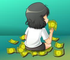 Sie trägt ein Bargeld im Cartoon-Stil.