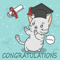 gato lindo de la graduación en estilo de dibujos animados.